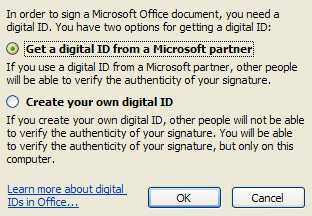 Then click the option to get an ID from a Microsoft Partner or create your own, and then click OK.
