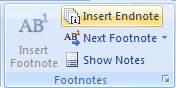 Then click the Insert Footnote or Insert Endnote button