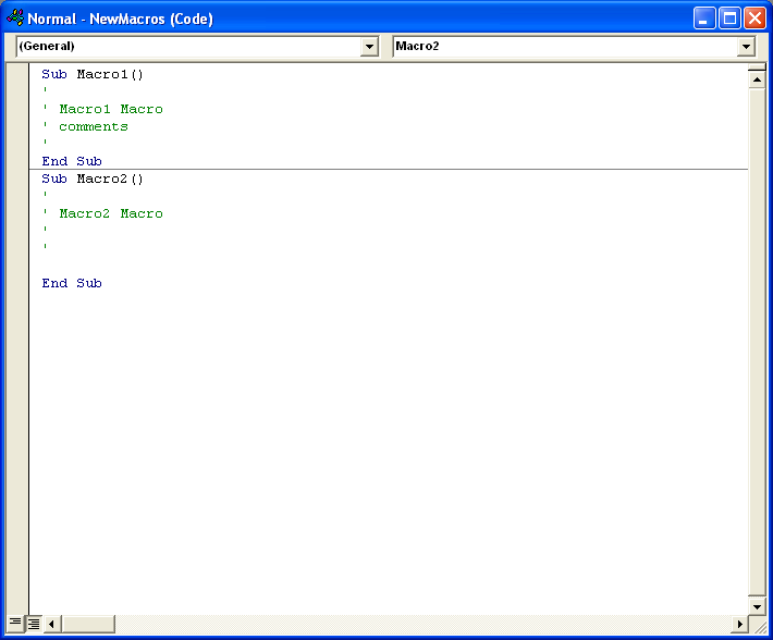 Click the Module window, and then type new Visual Basic commands.
