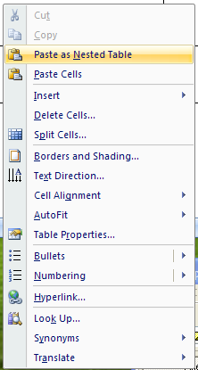 Then click Paste as Nested Table.