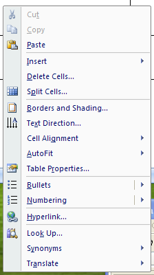 Then right-click the table cell