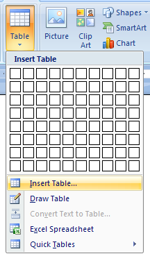 Or click Insert Table