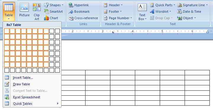 Then drag to select the number of rows and columns you want
