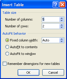 Then enter the number of columns and rows you want