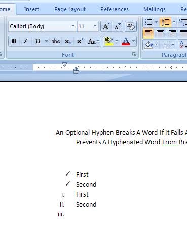 word 2007 checklist