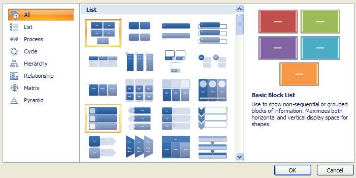 In the middle pane, click a SmartArt graphic style type.