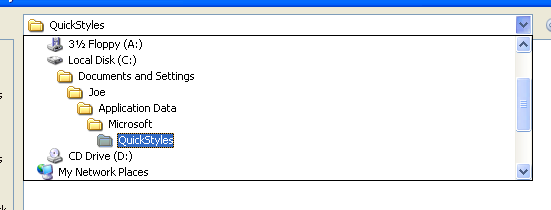 The Save Quick Style Set dialog box displays the Quick Styles folder.