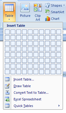 Then click the Table button