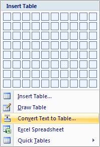 Then click 'Convert Text to Table'.