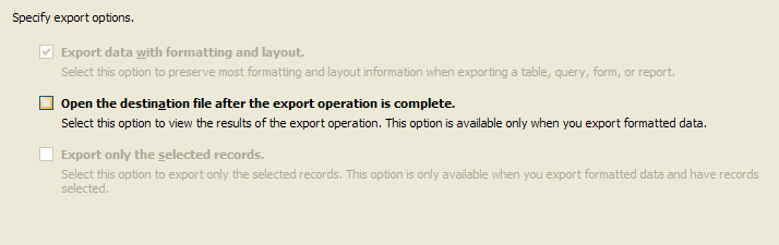 Click the export options.