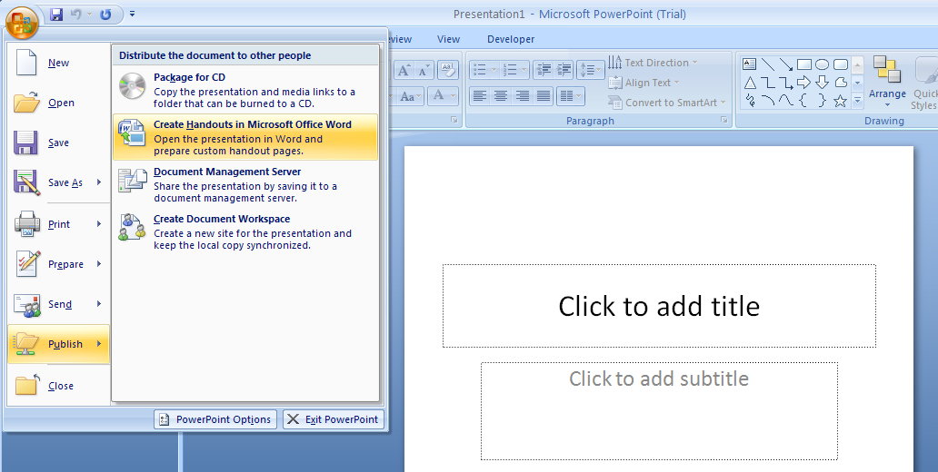 Then click Create Handouts in Microsoft Office Word.