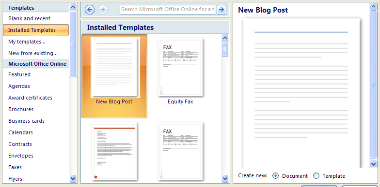 Click the Installed Templates category to choose a template.