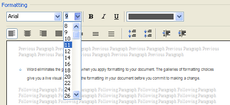 In the point size list, type 11.5 and press Enter.