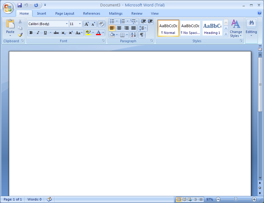 A new document appears in the Word window.