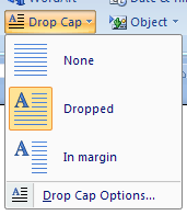 Then click the Drop Cap button