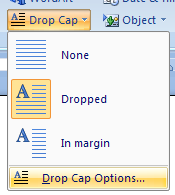 Then click Drop Cap Options.
