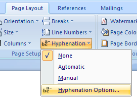 Then click Hyphenation Options.