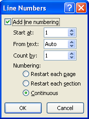 Select the options: Start at, From text, Count by, and Numbering.