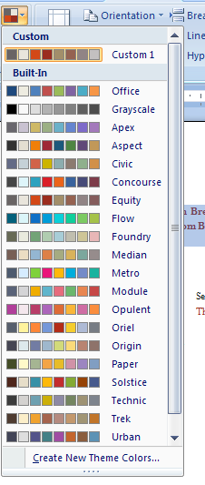 Then click the Theme Colors button