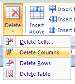 Delete table rows columns or cells cell row column for Emacs org table delete column