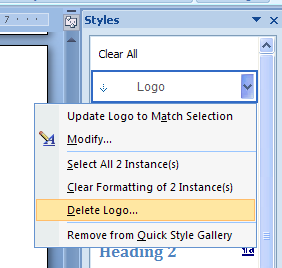 Then click Delete. You cannot delete Normal or built-in Heading styles.