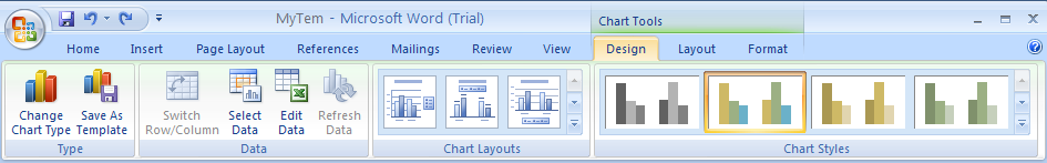 Click the Design tab under Chart Tools.