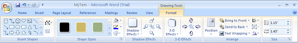 Then click the Format tab under Drawing Tools
