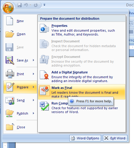 Enable editing for a document marked as final