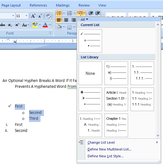 Format The Multi Level List List Style Formatting Microsoft