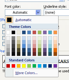 To change the font color, click Font Color, and then click a color.