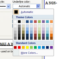 To select the under line color, click Underline Color list arrow, and then click a color.