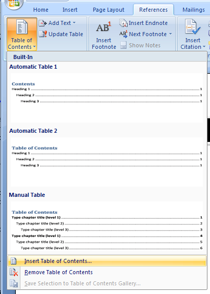 Formatting a table of contents