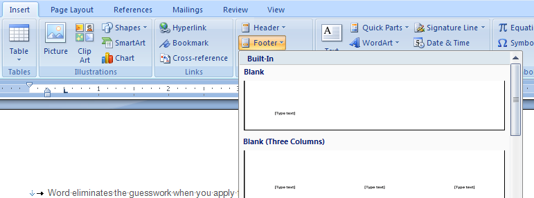 Add the document's author by pulling the author name from the Author property and putting it in the document's footer