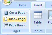 Then click the Blank Page button.