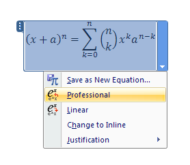Click Professional to display equation in 2D form.