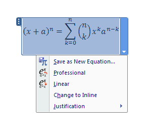 Click to place the cursor in the equation.