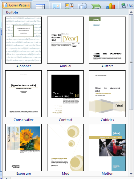 download cover pages for word