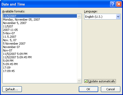 Insert the Date or Time : Date Time « Documentation « Microsoft