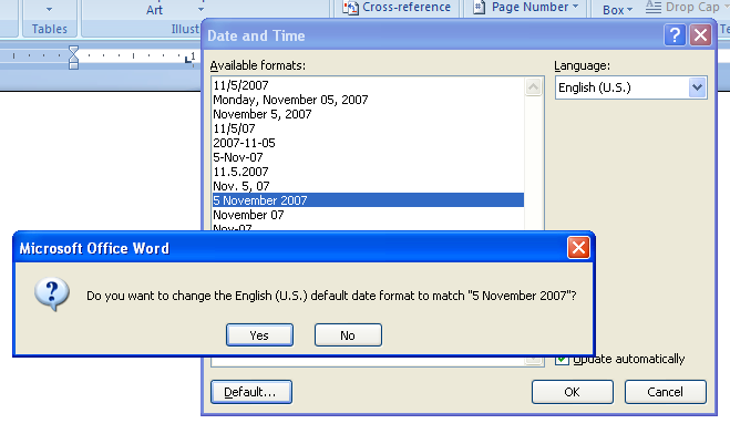 To set the current date and time based on your computer clock, click Default.