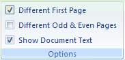Then click to select the Different First Page check box to create a unique header or footer for the first page