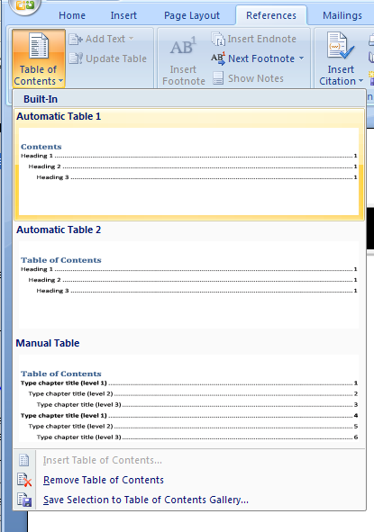 And select Automatic Table 1, Automatic Table 2, or Insert Table of Contents
