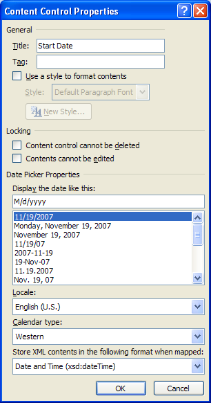 Inserting a Date Picker control into your template : Controls