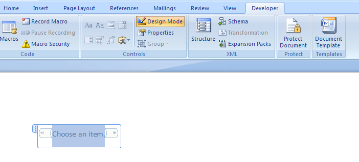 how to add a drop down list in word