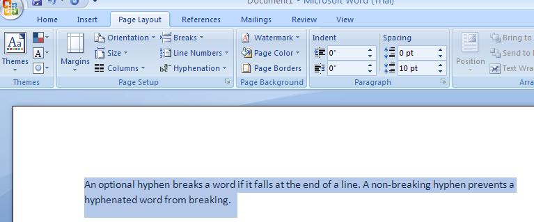 Inserting Hyphens