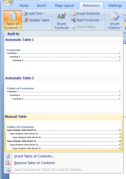 Inserting a manual table of contents