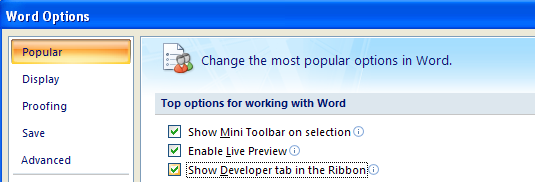 Displaying the Developer tab on the Ribbon.