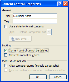 Select the Content control cannot be deleted checkbox in the Locking section.