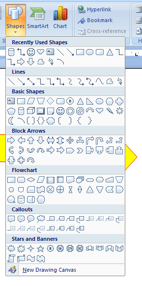 Then click the Shapes button or list arrow