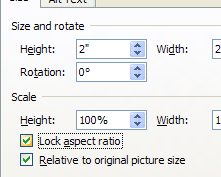 Check the 'Lock aspect ratio' check box in the Size and Position dialog box