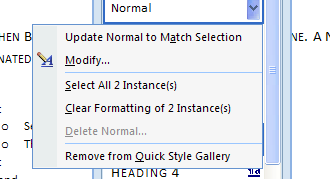 To delete: Point to the style, click the list arrow (Or right click the style), click Delete, and then click Yes.
